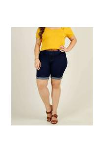 Bermuda Plus Size Feminina Jeans Cintura Alta Biotipo