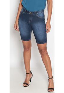 Bermuda Jeans Estonada-Azul-Fio Brasilfio Brasil