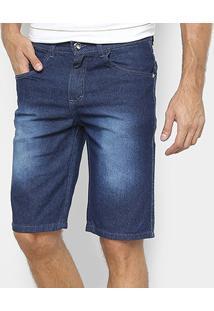 Bermuda Jeans Preston Estonada Masculina - Masculino-Azul Royal