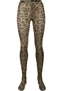 Dolce & Gabbana Meia-Calça Com Estampa Leopardo - Neutro