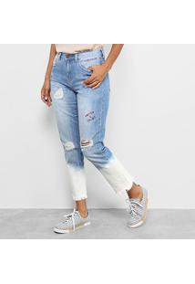 Calça Jeans Boyfriend Cantão Com Bordado E Barra Estonada Feminina - Feminino-Jeans