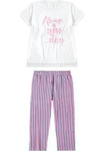 Pijama Malwee Liberta Estampado Listrado Feminino - Feminino