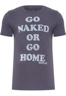 Camiseta Masculina Go Naked - Cinza