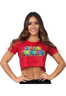 Camiseta Kings Sneakers Cropped Jogo Vermelho - Kanui