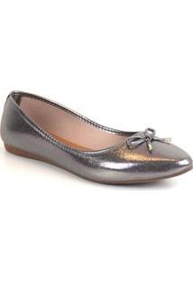 Sapatilha Tag Shoes Metal Laço Feminina - Feminino-Prata