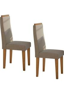 Conjunto 2 Cadeiras Dafne Rovere Naturale/Suede Animale Bege