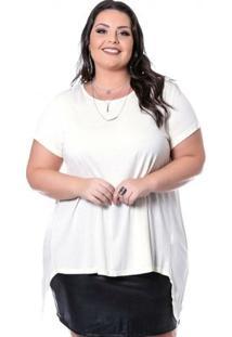 Blusa Crepe Viscose Miss Masy Plus Size - Feminino-Branco