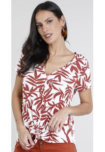 Blusa Feminina Estampada De Folhagens Com Nó Manga Curta Decote V Branca