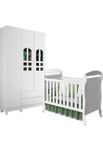 Guarda-Roupa Reller - Móveis Infantis Selena 3 Portas Com Berço Danny Branco Brilho