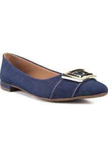 Sapatilha Com Detalhe Dourado Jeans Azul Escuro