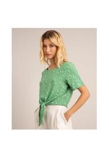 Blusa Cropped De Viscose Estampada Poá Com Nó Manga Curta Decote Redondo Verde