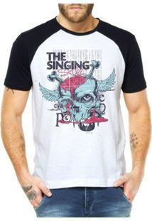 Camiseta Criativa Urbana Raglan Caveira Zumbi - Masculino