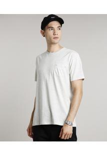 Camiseta Masculina Básica Com Bolso Manga Curta Gola Careca Cinza Mescla Claro