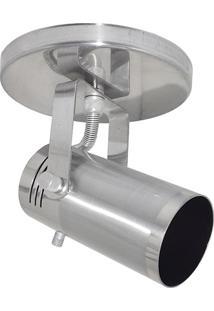 Spot De Sobrepor Em Alumínio Para 1 Lâmpada 60W 110V Cinza Lixado
