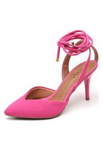 Sapato Ellas Online Scarpin Amarração Rosa