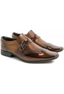 Sapato Social Couro Venetto Prince Verniz - Masculino-Marrom