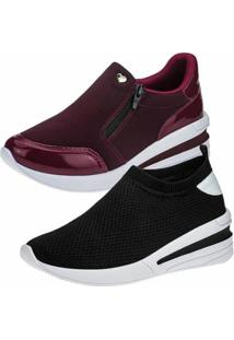 Kit 2 Pares Tênis Sneaker Gigil Anabela Feminino - Feminino