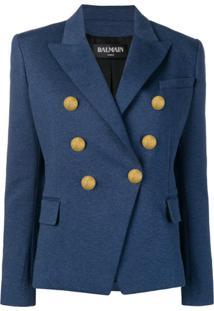 Balmain Blazer Com Botões - Azul