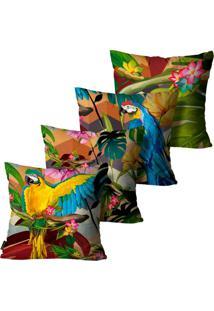 Kit Com 4 Capas Para Almofadas Premium Peluciada Mdecore Floral Colorido 45X45Cm