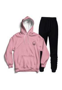 Conjunto Moletom Abrigo Canguru Blusa De Frio Feminino Rosa Calça Preta Punho Agasalho Blusão Capuz