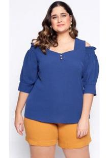Blusa Almaria Plus Size Lasala Lisa Feminina - Feminino-Azul