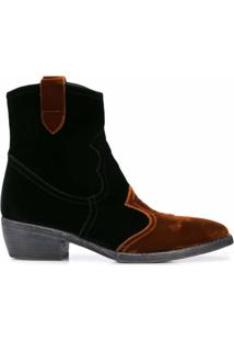 Madison.Maison Ankle Boot De Veludo - Preto