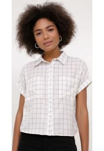 Camisa Xadrez Grid Com Bolsos