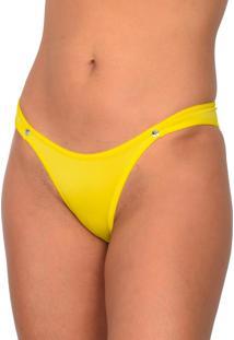 Tanga Vip Lingerie Microfibra Com Strass Amarelo - Tricae