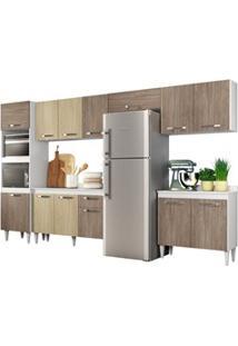 Cozinha Modulada 6 Módulos Composição 1 Branco/Carvalho/Castanho - Lum