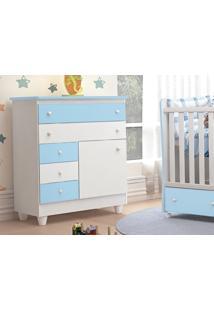 Comoda Infantil 5 Gavetas Adhara Branco / Azul - Peternella
