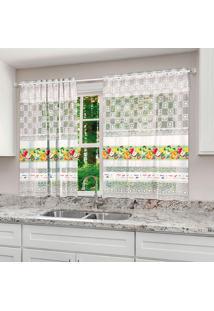 Cortina Com Ilhós Para Cozinha Eva Branca (120X130)