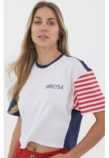 Camiseta Morena Rosa Listrada Branca - Kanui