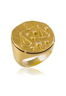 Anel Zodiaco Libra Amarelo C/ Tpz Blazing Red E Diam.Ttlb - 17