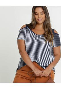 Blusa Feminina Open Shoulder Listrada Plus Size