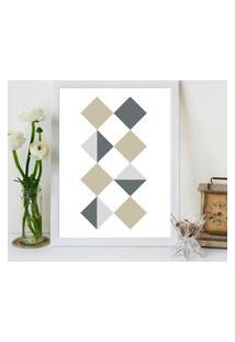 Quadro Decorativo Com Moldura Quadrados Geométricos Branco - 30X40Cm