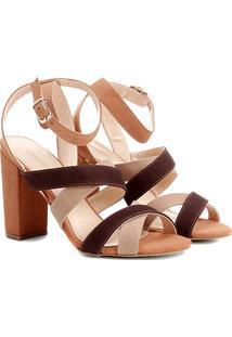 Sandália Couro Shoestock Salto Grosso Colors Feminina - Feminino-Caramelo