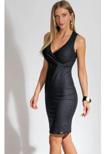 Vestido Curto Com Transpasse Preto