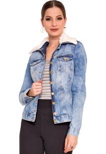 Jaqueta Jeans Rosa K Gola De Pelo Azul