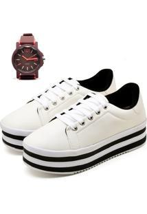 Tênis Ousy Shoes Flatform Mais Relógio Branco
