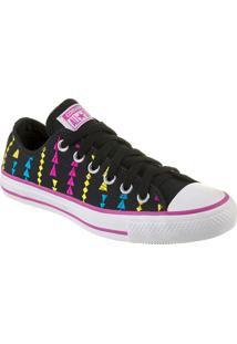 Tênis Feminino Converse All Star Ct As Embroidery Ox Preto/Violeta Floral Branco - Cto1650001