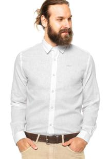 Camisa Manga Longa Colcci Slim Bordado Off-White