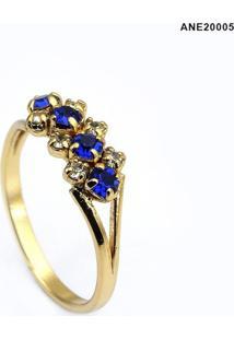 Anel Horus Import Azul Topázio Banhado Ouro - Kanui