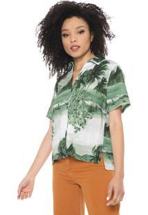 Camisa Linho Osklen Estampada Verde
