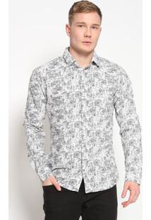 Camisa Super Slim Fit Geomã©Trica- Off White & Preta-Forum