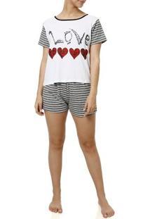 Pijama Curto Feminino Branco