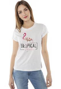 Camiseta T-Shirt Tropical Paradise Aplicação Pedras Pop Me Branco