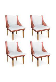 Kit 04 Cadeiras De Jantar Liz Corano Nozes Com Linho Grosso Bege A19 Pés Palito Castanho - D'Rossi