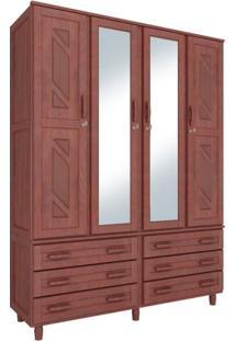 Guarda Roupa Casal Com Espelho 4 Portas 6 Gavetas Paris Móveis Cavazotto Mogno