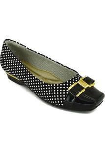 Sapato Piccadilly Micro Fibra - Feminino-Preto+Branco
