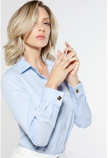 Camisa Social Feminina Azul Com Abotoadura Deborah